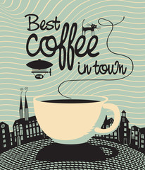 banner with a cup and the words Best coffee in town