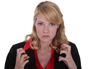 An angry businesswoman.