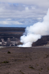 Steam and smoke rising from an active vent in the Kilauea crater