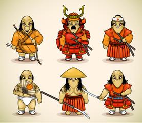 Set of six samurai