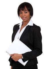 Woman stood with folder
