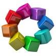Color wheel made of colorful cubes