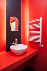 Red bathroom interior