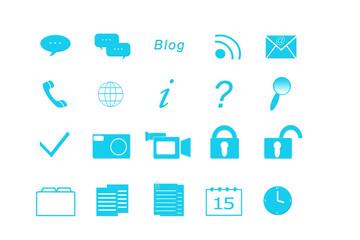 Set de iconos para la Web en color azul