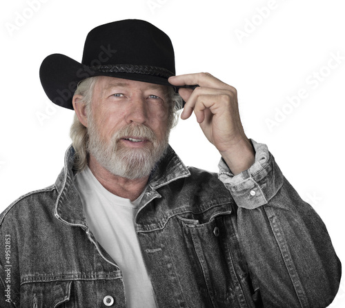 Handsome mature man wearing a black hat