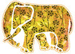 Yellow Elephant With Flower Patterns