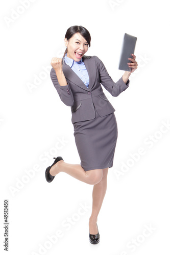 asian businesswoman with touch pad