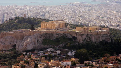 Time lapse of Acropolis in Athens capital city of Greece