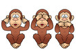 illustration of cartoon Three monkeys - see, hear, speak no evil