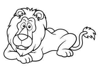 illustration of Cartoon lion - Coloring book