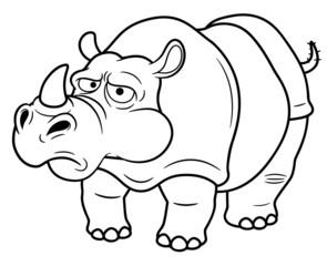illustration of Cartoon rhino - Coloring book
