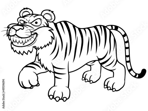 illustration of Cartoon tiger - Coloring book