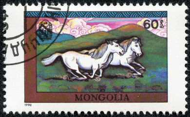 stamp printed by Mongolia, shows horses