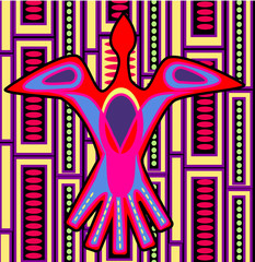 Colorful bird-Mola folk art -vector