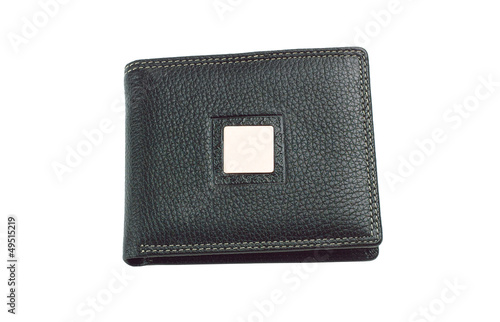 New black leather wallet isolated on white background.