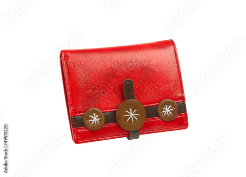Beautiful red purse on white background