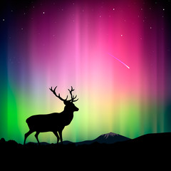 The northern lights with a deer, vector Eps10 illustration.