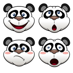 Illustration of Cartoon panda face