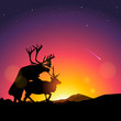 Silhouette of deers in foreground, vector Eps10 illustration.