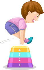 Illustration of a boy jumping hurdle.vector