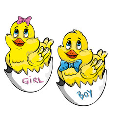 cartoon girl and boy chickens just hatched from egg