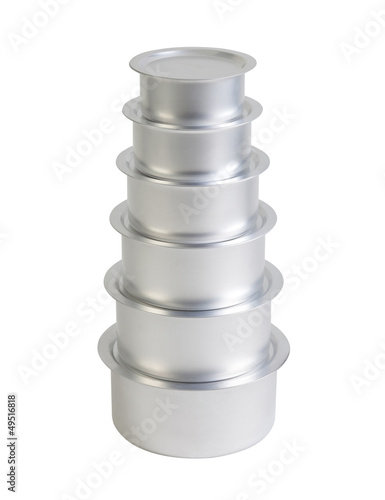 Set of aluminium pots in six sizes