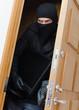 Male burglar in mask stealing TV