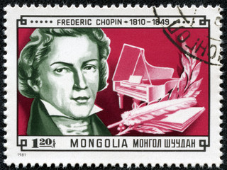 stamp Shows picture of grate composer Frederic Chopin