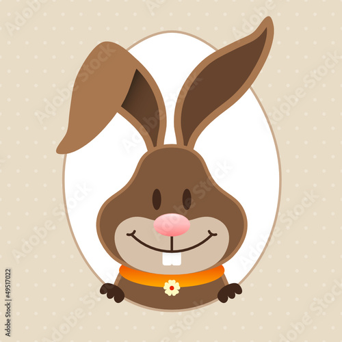 Happy Easter Bunny Eggframe Dots Beige