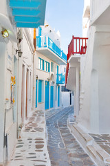 Greece Mykonos narrow walk path in main capitol