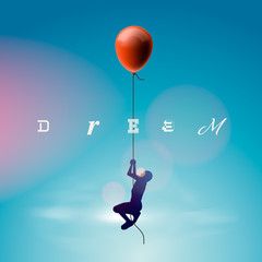 Man flying by a balloon, vector Eps10 illustration.