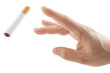 Hand trowing cigarette - Quit smoking metaphor