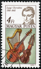 stamp shows Luigi Cherubini, Harp, Bass Viol and Baryton