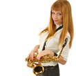 Portrait of Young smiling woman with saxophone