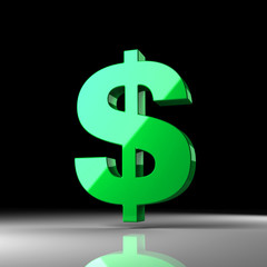 Green shiny dollar sign over black background