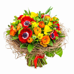 bouquet of flowers in vase isolated on white