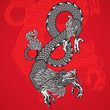 Ancient Chinese Dragon and red background, vector Eps10 image.