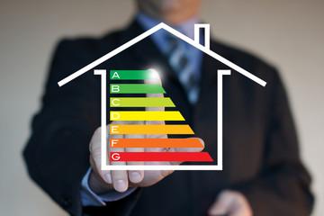 maison avec étiquette consommation énergie