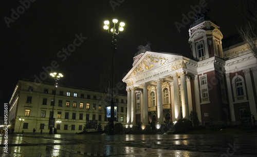 Bulgaria National Theater Ivan Vazov at night