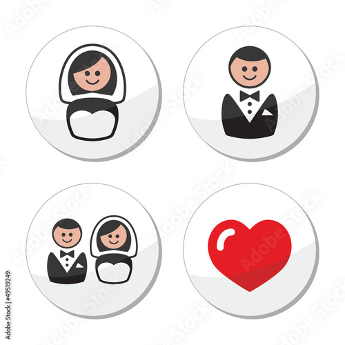 Groom and bride on round white labels
