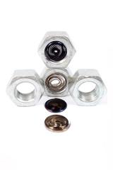 Hardware nuts and steel spirals