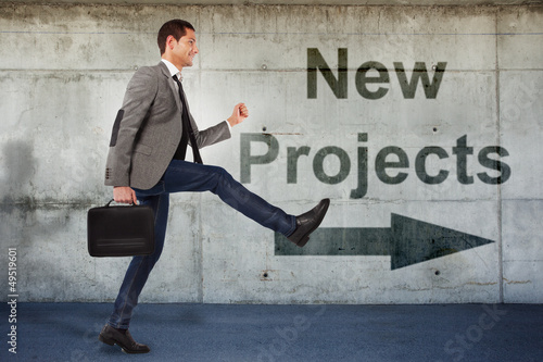 Young businessman going to the new projects