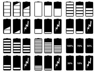 Set of battery levels illustrated on white background