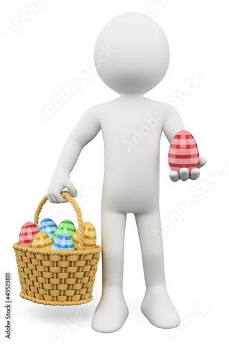 3D white people. Basket with easter eggs