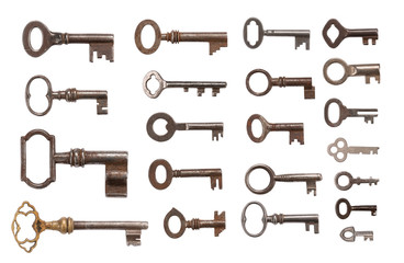Old Keys over white background with clipping Path (XXXL)