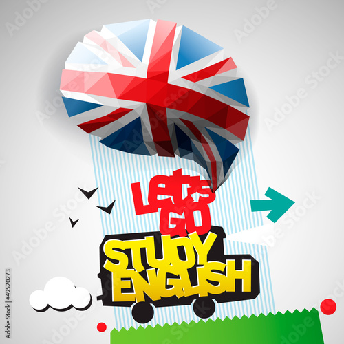 Let's go study English background, vector Eps10 illustration.