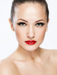 woman with beauty face and clean face skin , spa