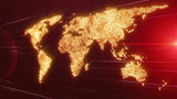 technology map with continents and lights – loop HD