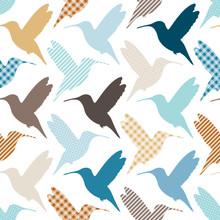 Seamless Pattern Kolibris Muster Retro
