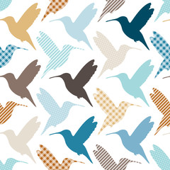 Seamless Pattern Hummingbirds Pattern Retro